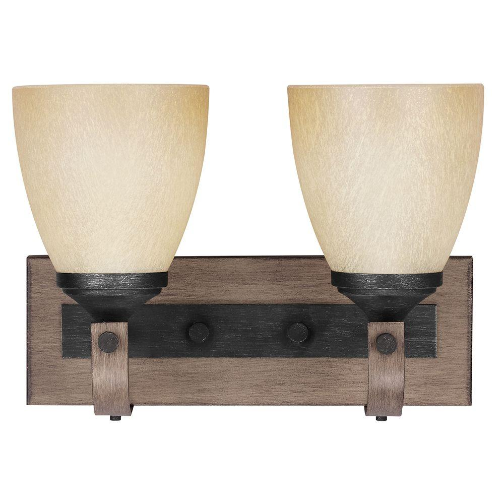 Sea Gull Lighting Corbeille 2-Light Stardust Wall/Bath Fixture with Creme