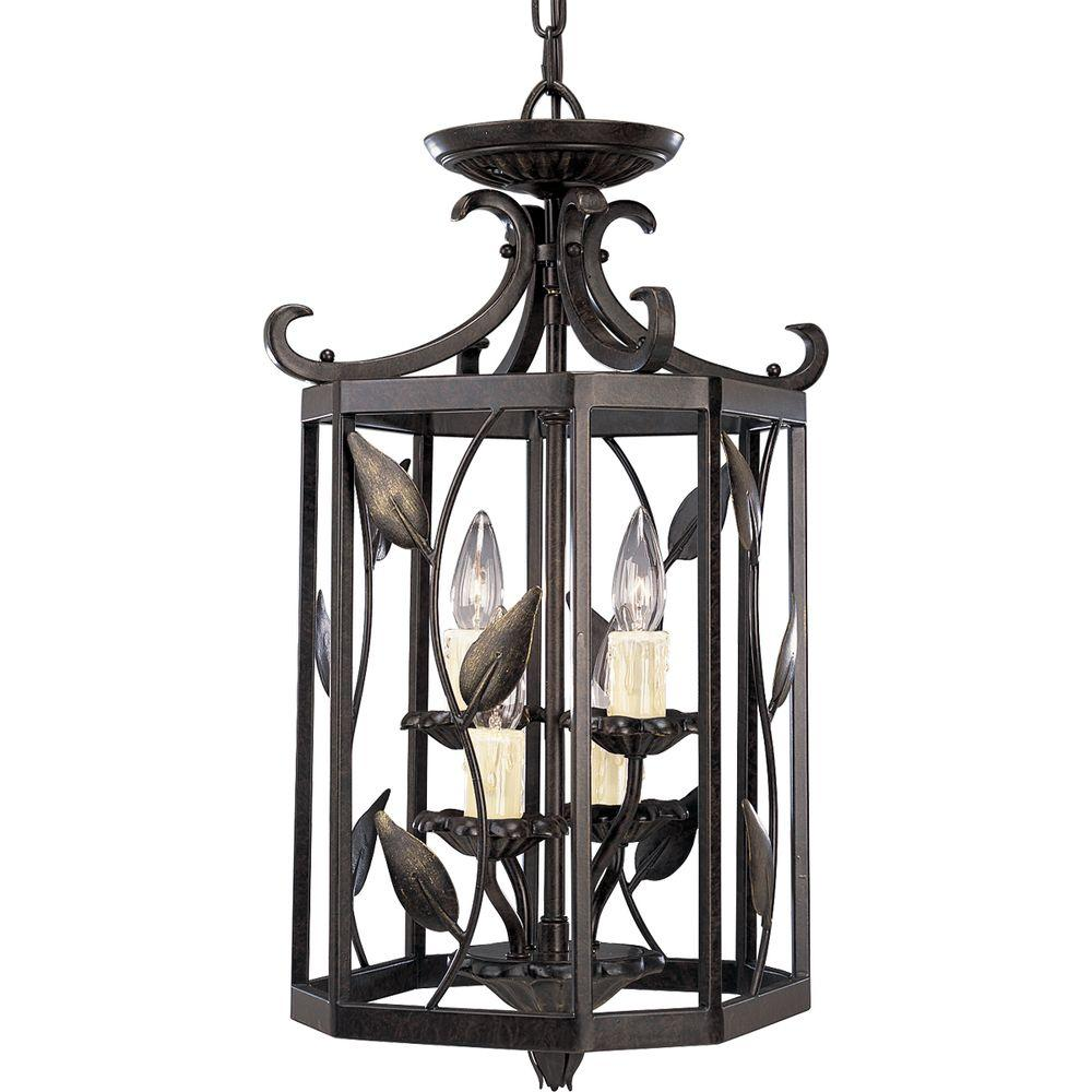 Eden Collection 4-Light Forged Bronze Foyer Pendant