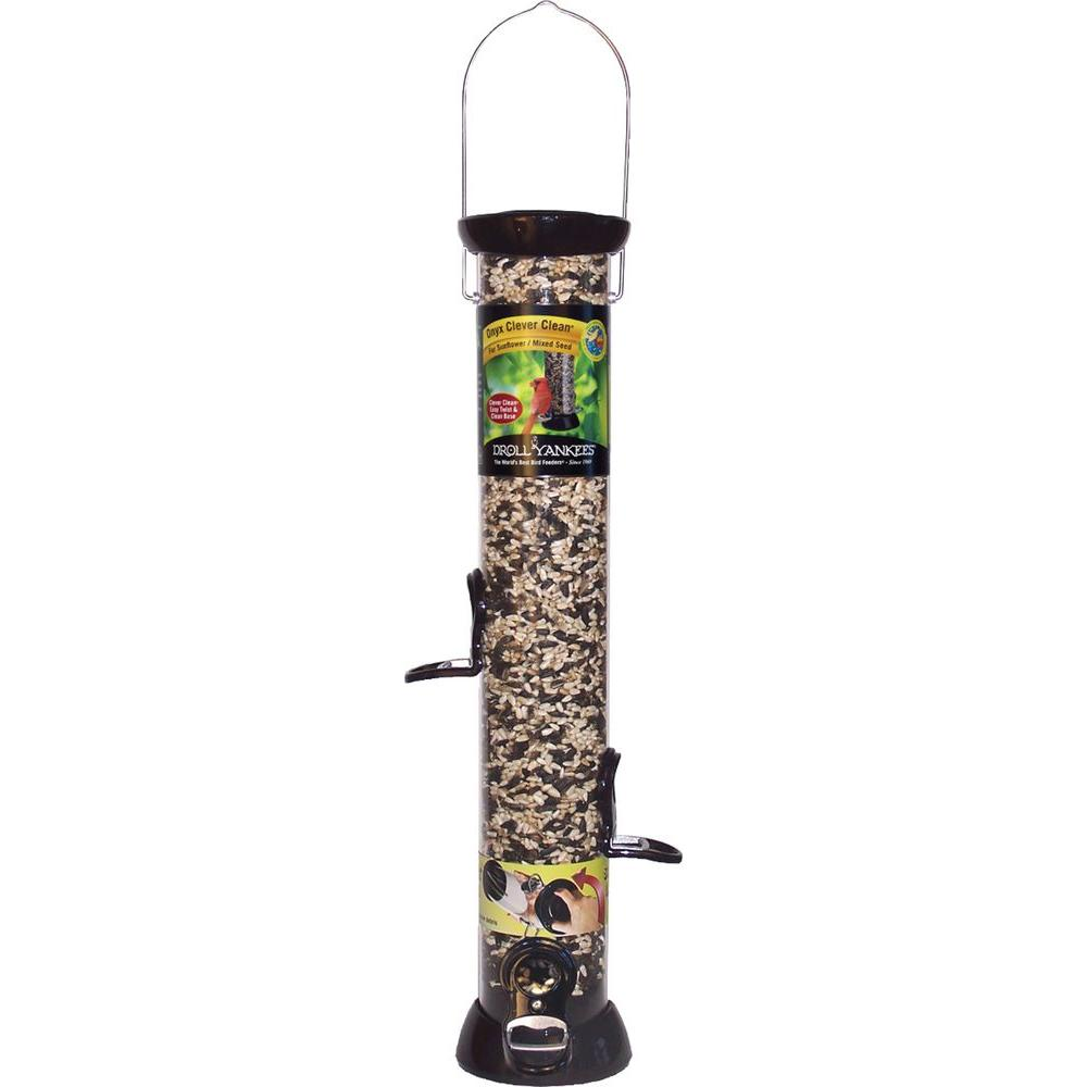 Droll Yankees 24 in. Onyx Clever Clean Sunflower/Mixed Seed Feeder-CC24SMBX -