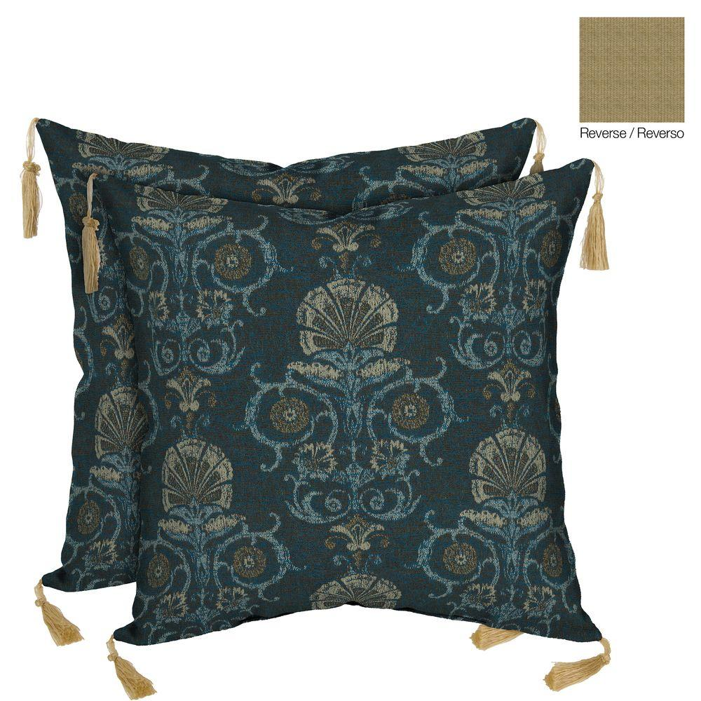Throw Pillows With Tassels : Bombay Outdoors Anatolia Blue Reversible Square Outdoor Throw Pillow with Tassels (2-Pack ...