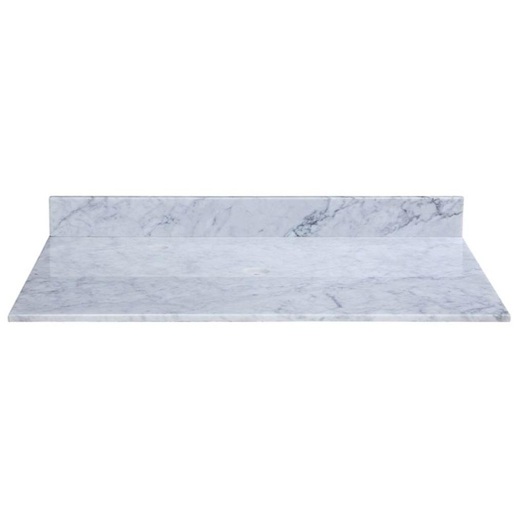 RYVYR 49 in. Marble Vanity Top in Carrara White without Basin