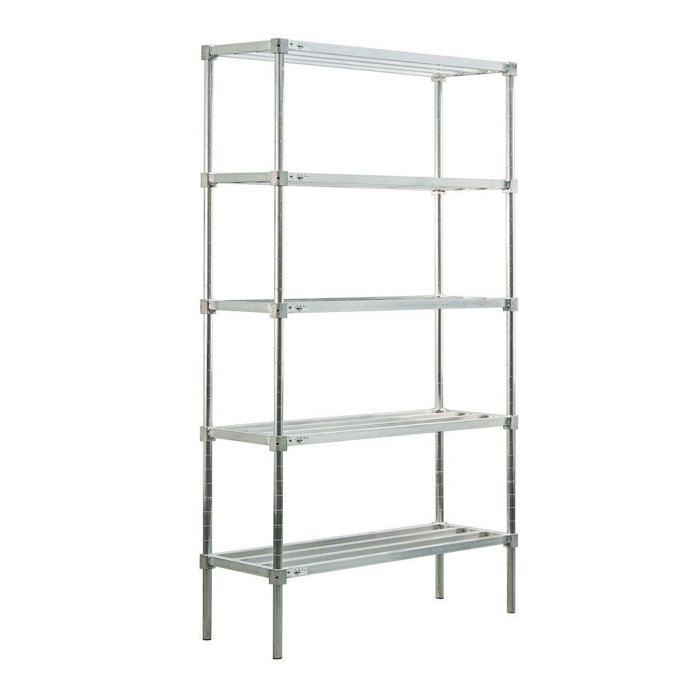 New Age Industrial 5-Shelf Aluminum Heavy Duty Style Adjustable Shelving