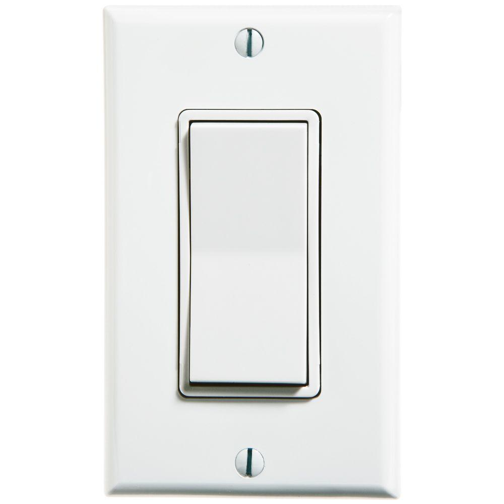 Self-Powered Wireless Push On/Off Remote Rocker Switch - White