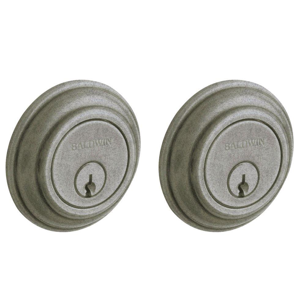 Baldwin Traditional Double Cylinder Distressed Antique Nickel Deadbolt
