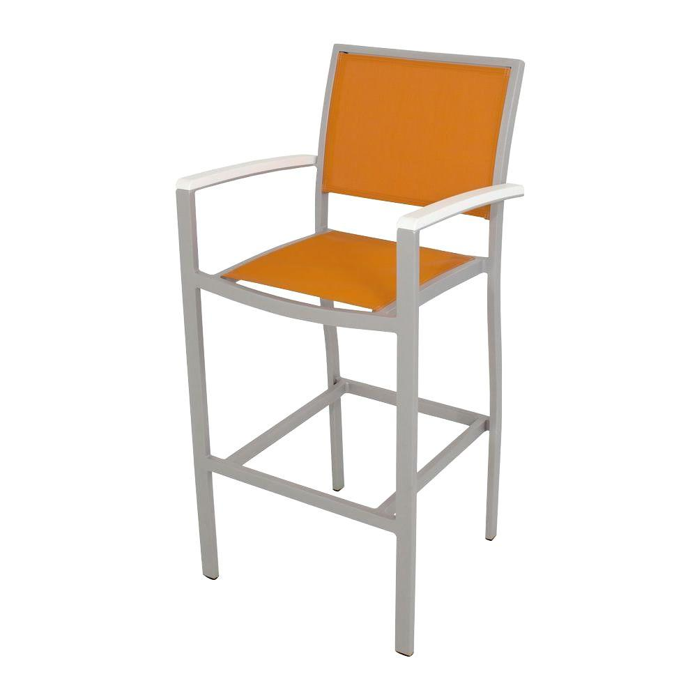 Bayline Textured Silver/White/Citrus Sling Patio Bar Arm Chair