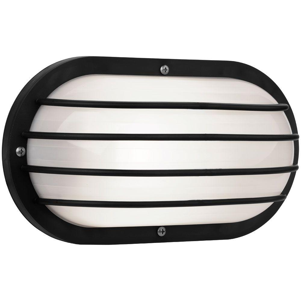 Newport Coastal Oval Nautical 10 in. Black Outdoor Wall Mount Light with Grill