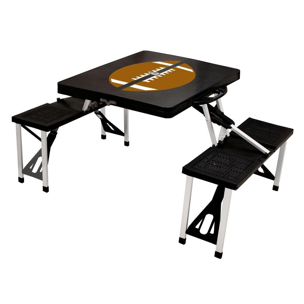 Black Sport Compact Patio Folding Picnic Table with Football Pattern