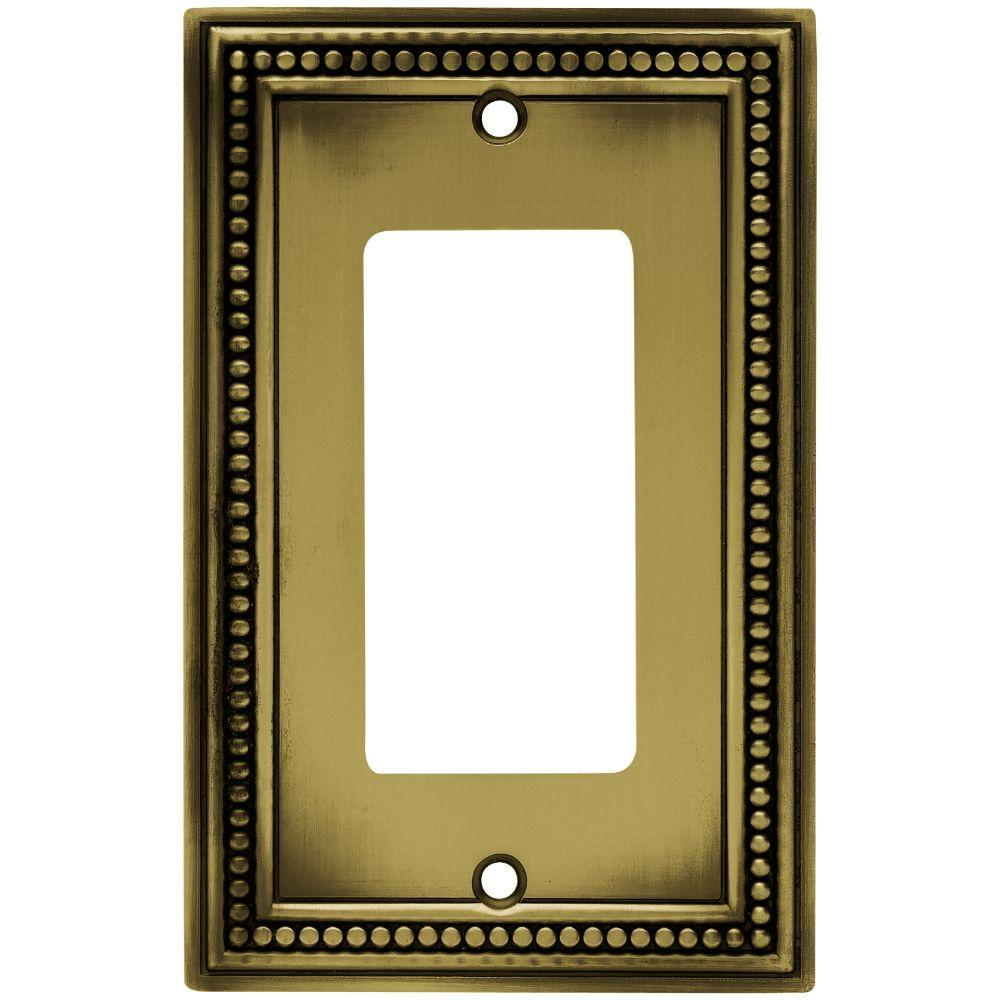 Beaded 1-Gang Decora Wall Plate - Tumbled Antique Brass