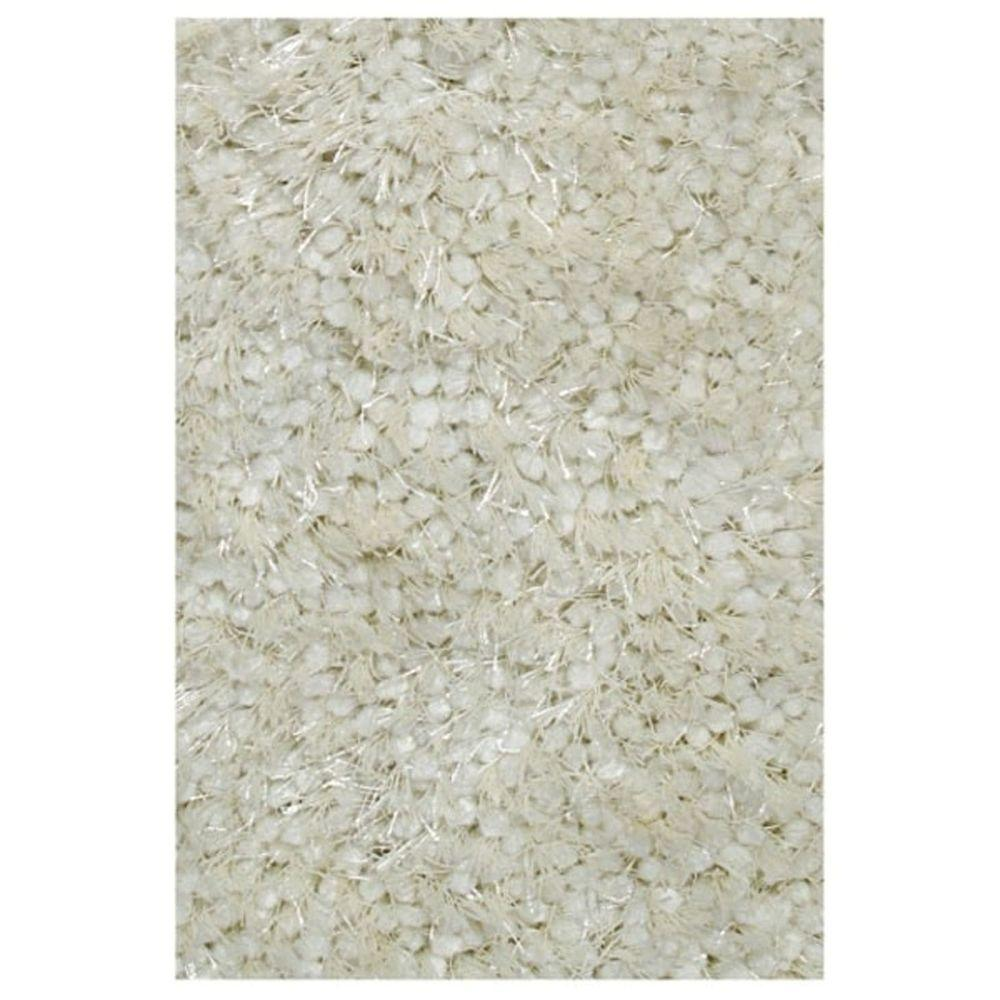 LA Rug Super Shag Snow White 4 ft. 11 in. x 7 ft. 3 in. Area Rug