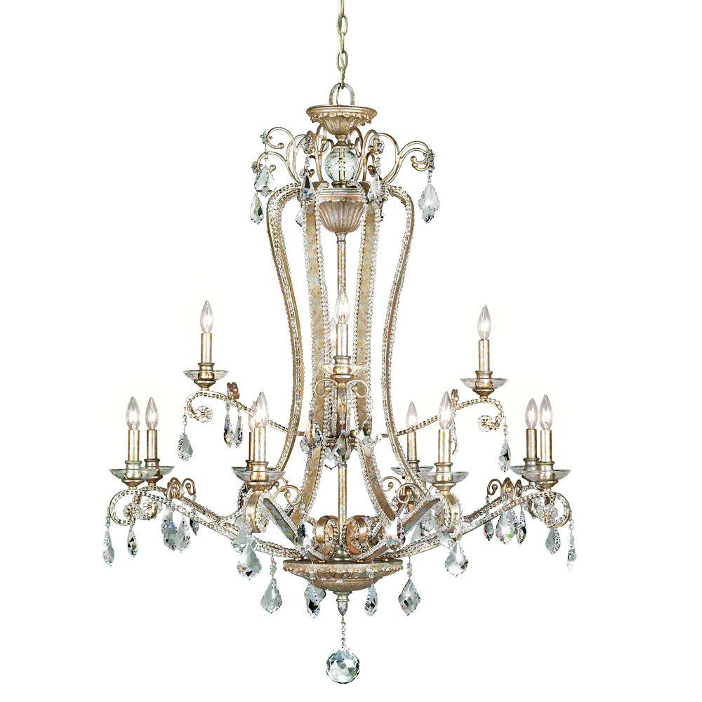 Eurofase Colavita Collection 12-Light Antique Silver Hanging Chandelier