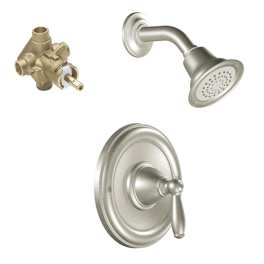 Moen Brantford Single Handle 1 Spray Posi Temp Shower Faucet Trim Kit With Valve In Brushed