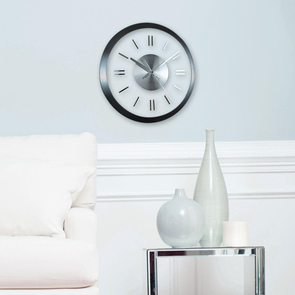 FirsTime 14 in. H Modish Gunmetal Wall Clock-10050 - The Home