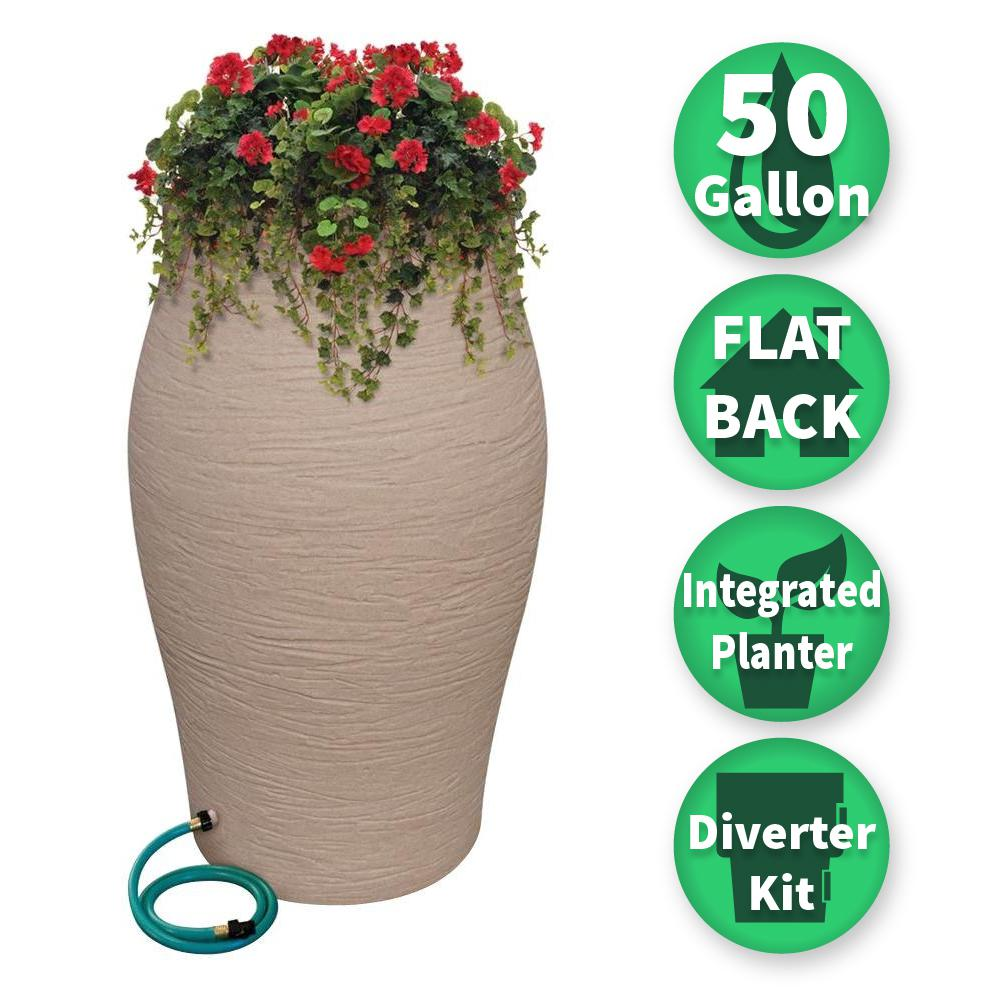 50 Gal. Sandstone Water Urn Flat-Back Rain Barrel with Integrated Planter