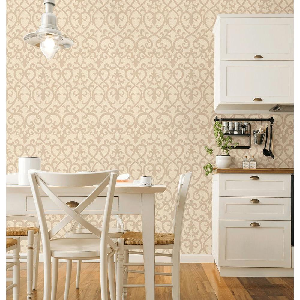 8 in. W x 10 in. H Rosie Blush Lattice Wallpaper Sample