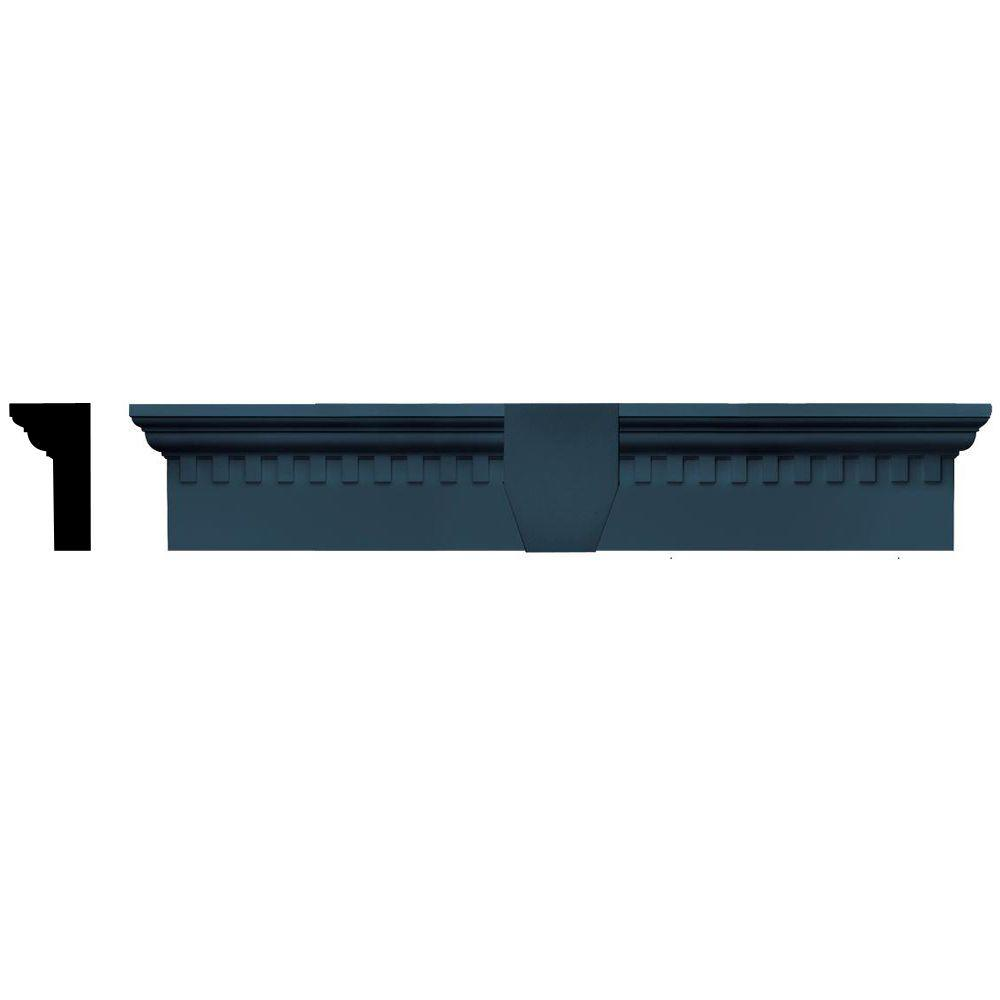 Builders Edge 2-5/8 in. x 6 in. x 33-5/8 in. Composite Classic Dentil Window Header with Keystone in 036 Classic Blue