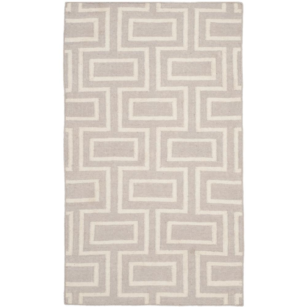 Dhurries Gray/Ivory 3 ft. x 5 ft. Area Rug