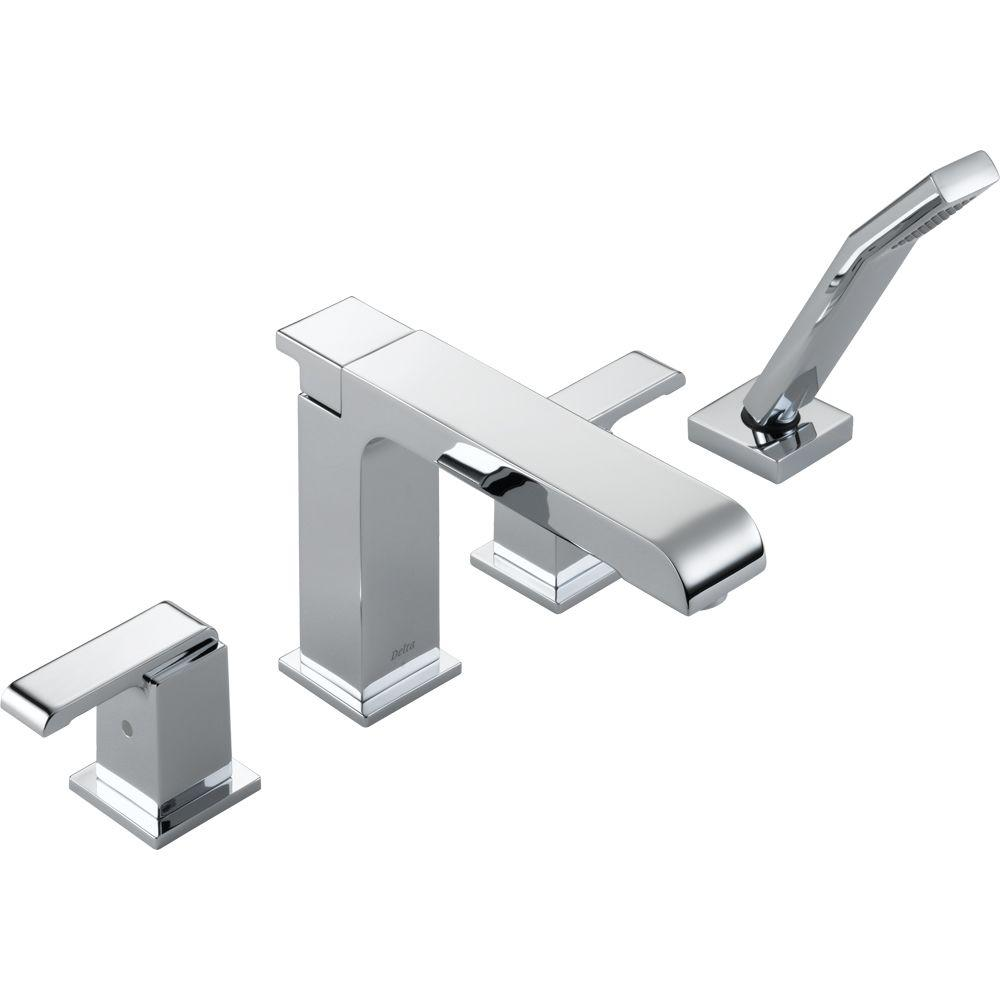 Delta Arzo 2-Handle Deck-Mount Roman Tub Faucet with Hand Shower Trim Kit Only in Chrome (Valve Not Included)