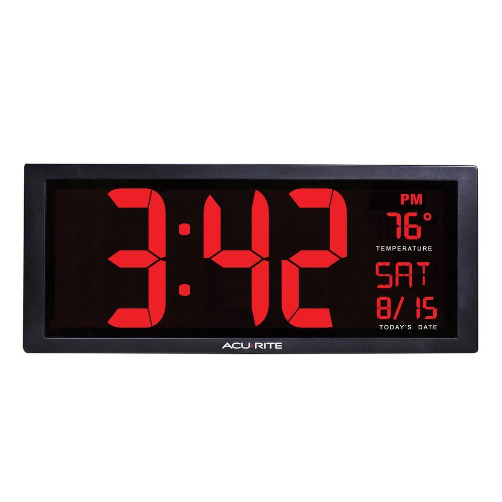 AcuRite 14.5 in. Large LED Clock with Indoor Temperature-75127A1 - The