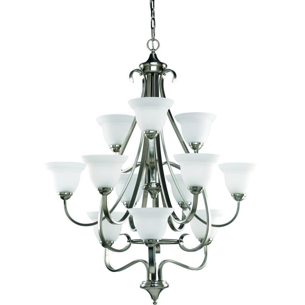 Progress Lighting Torino Collection 12-Light Brushed Nickel Chandelier