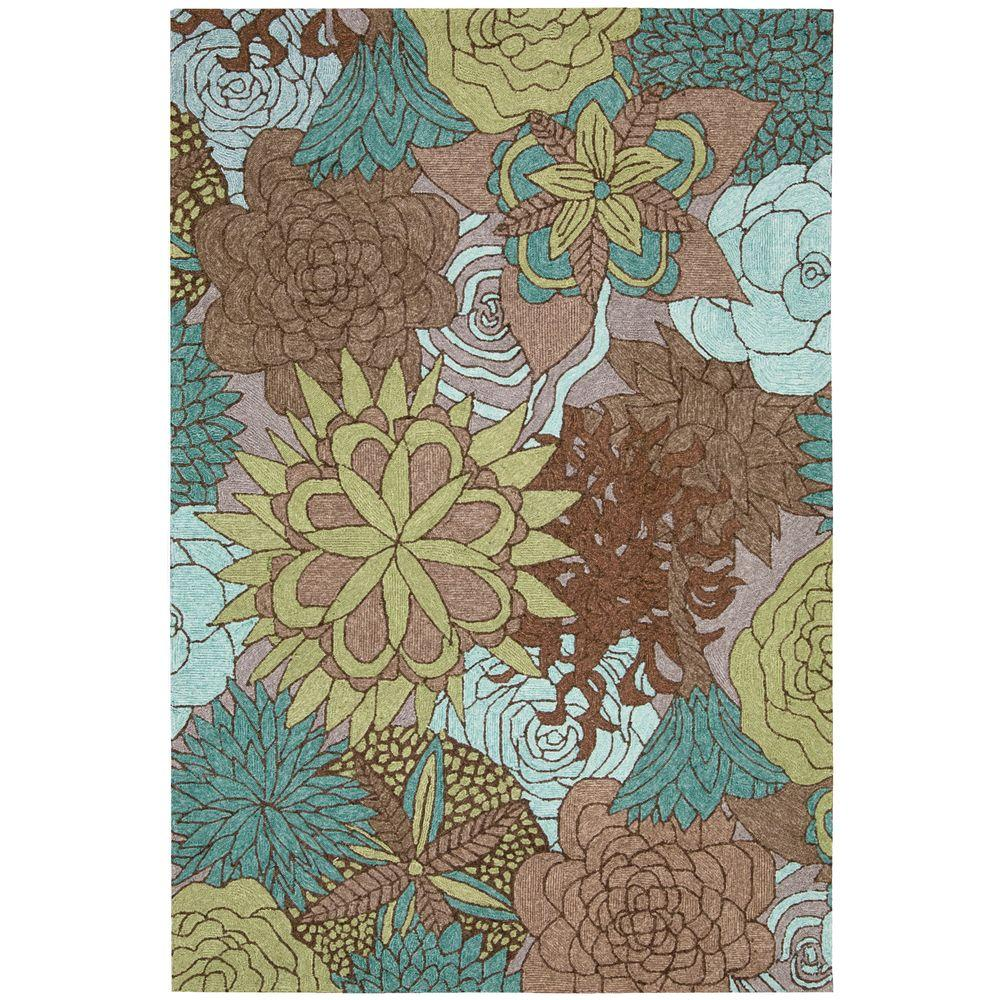 South Beach Aqua/Brown 8 ft. x 10 ft. 6 in. Indoor/Outdoor