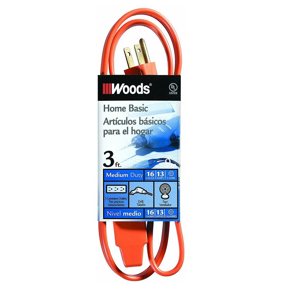 3 ft. 16/3 3-Outlet Extension Cord with Power Tap, Orange