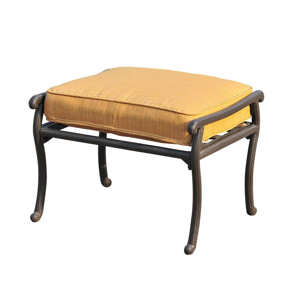 Sunjoy Ruby Patio Ottoman with Gold Sepia Weave Cushion-L-DN879SAL-1-OT - The