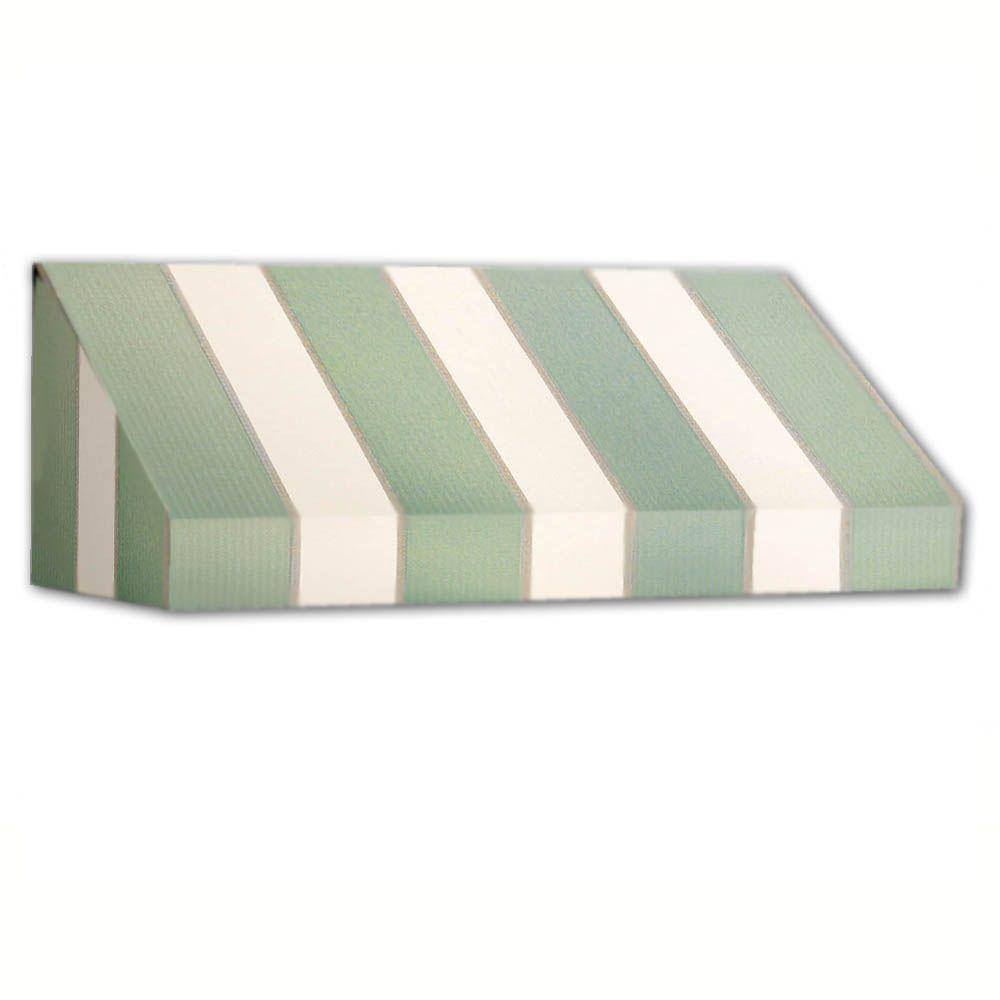 AWNTECH 14 ft. New Yorker Window/Entry Awning (24 in. H x 36 in. D) in Sage/Linen/Cream Stripe, Green