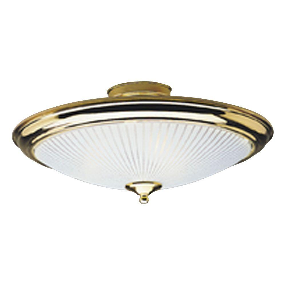 2-Light Polished Brass Interior Ceiling Semi-Flush Mount Light with White and