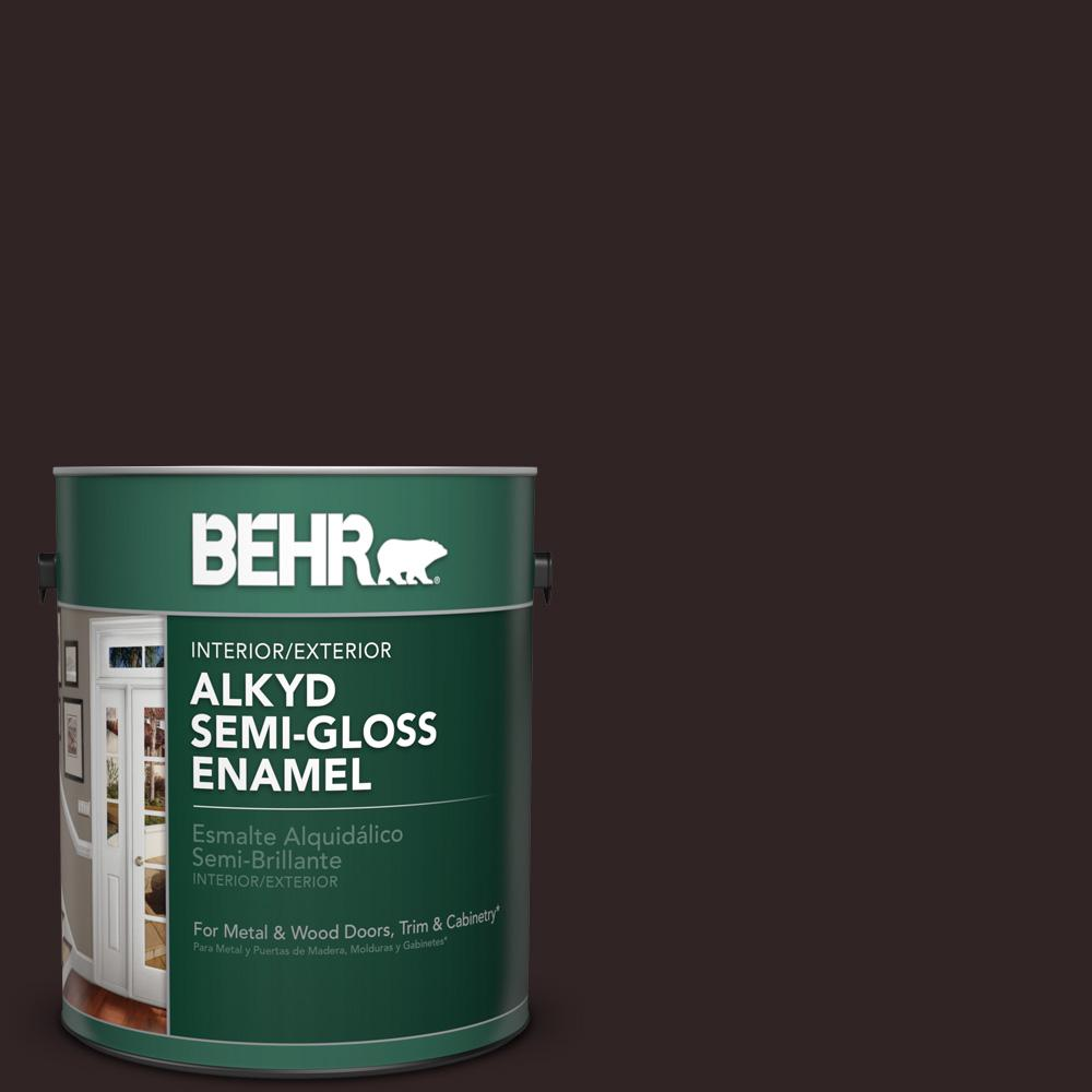 Behr 1 gal sc 104 cordovan brown semi gloss enamel alkyd for What are alkyd paints