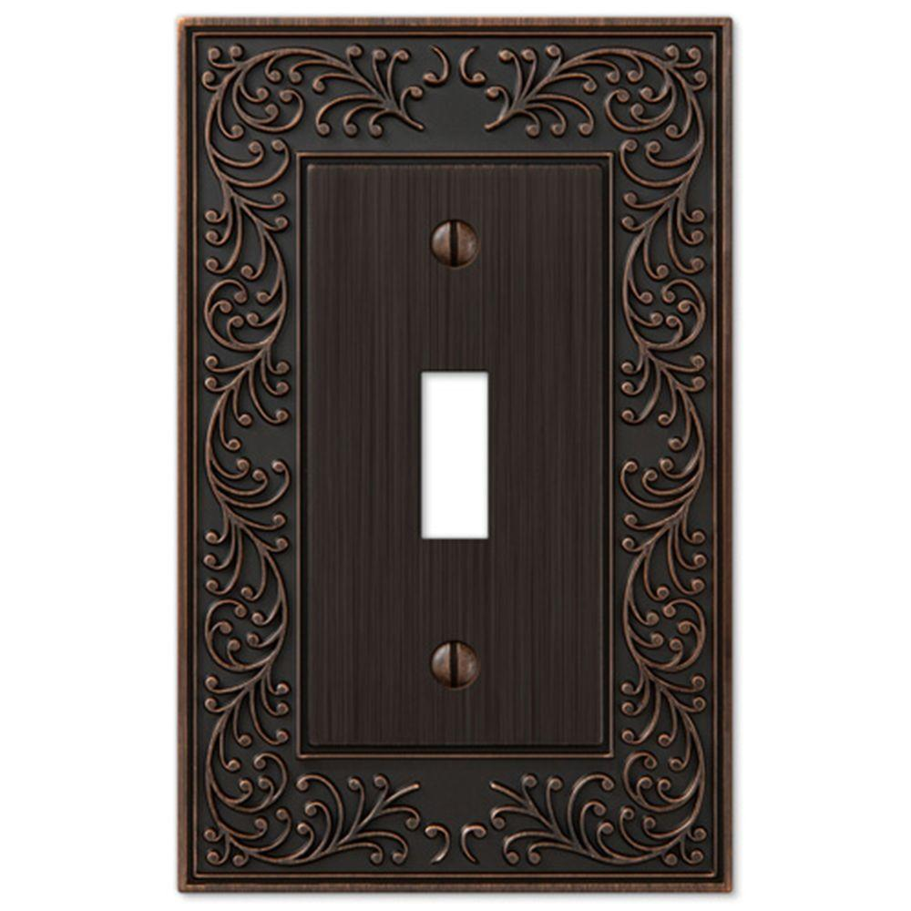 Amerelle English Garden 1 Toggle Wall Plate - Aged Bronze