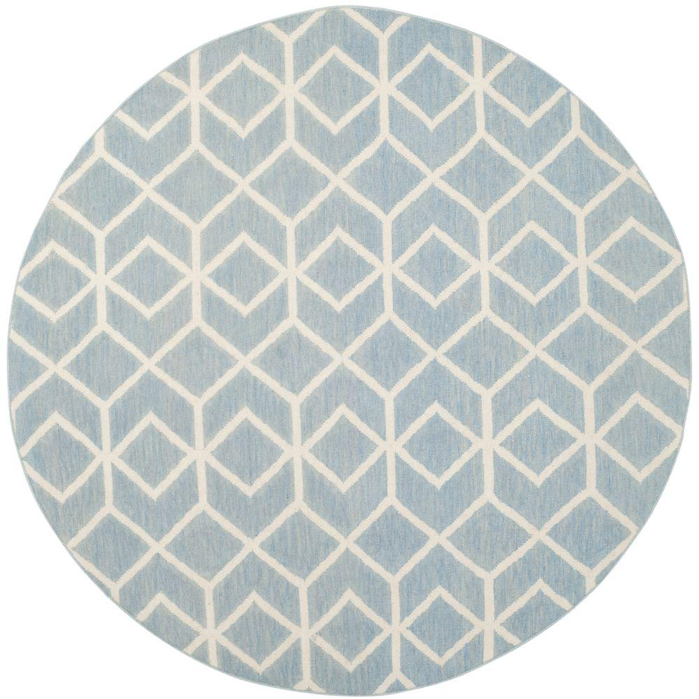 Safavieh Dhurries Blue/Ivory 6 ft. x 6 ft. Round Area Rug