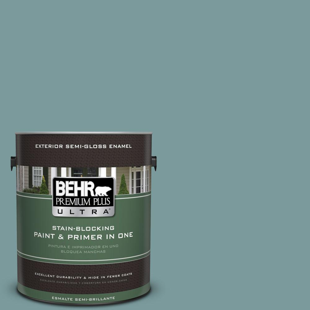 BEHR Premium Plus Ultra 1-gal. #PMD-35 Blue Agave Semi-Gloss Enamel Exterior Paint
