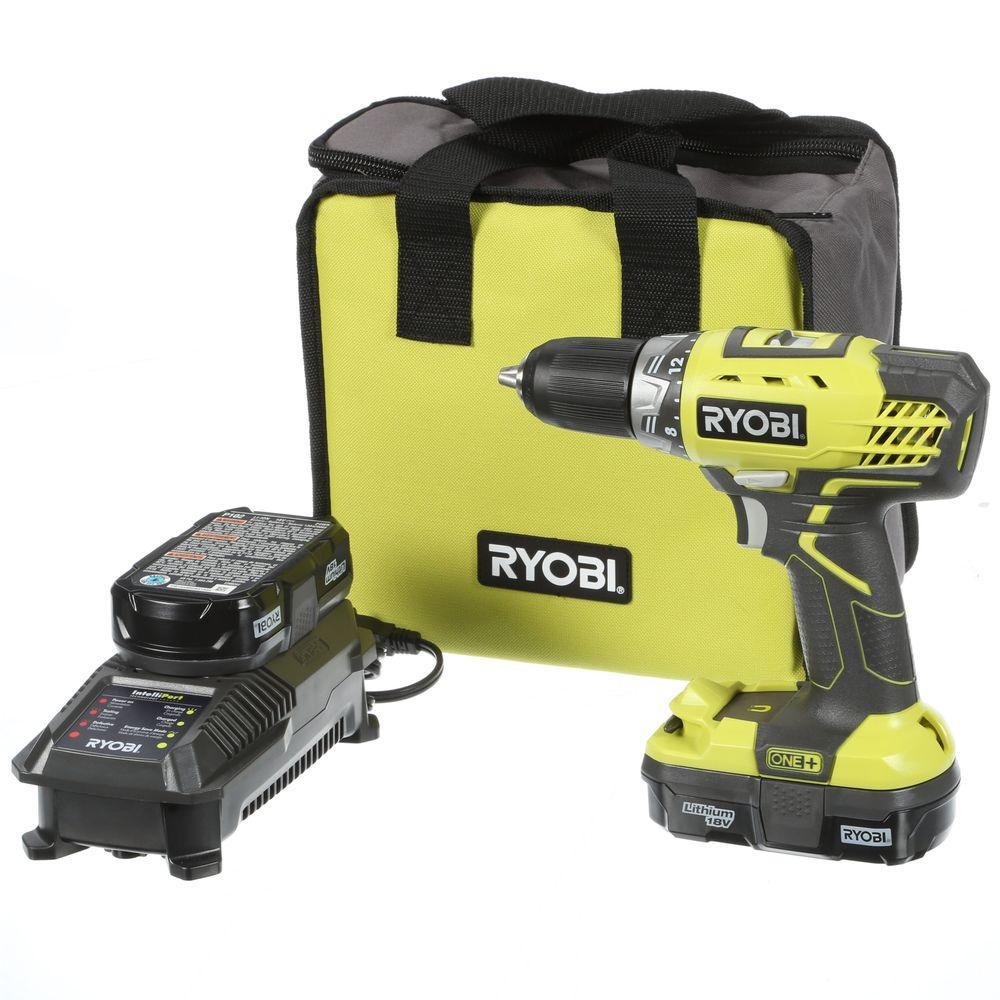 Drill/Drivers: Ryobi Drills 18-Volt One+ Lithium-Ion Compact Drill/Driver Kit P1811