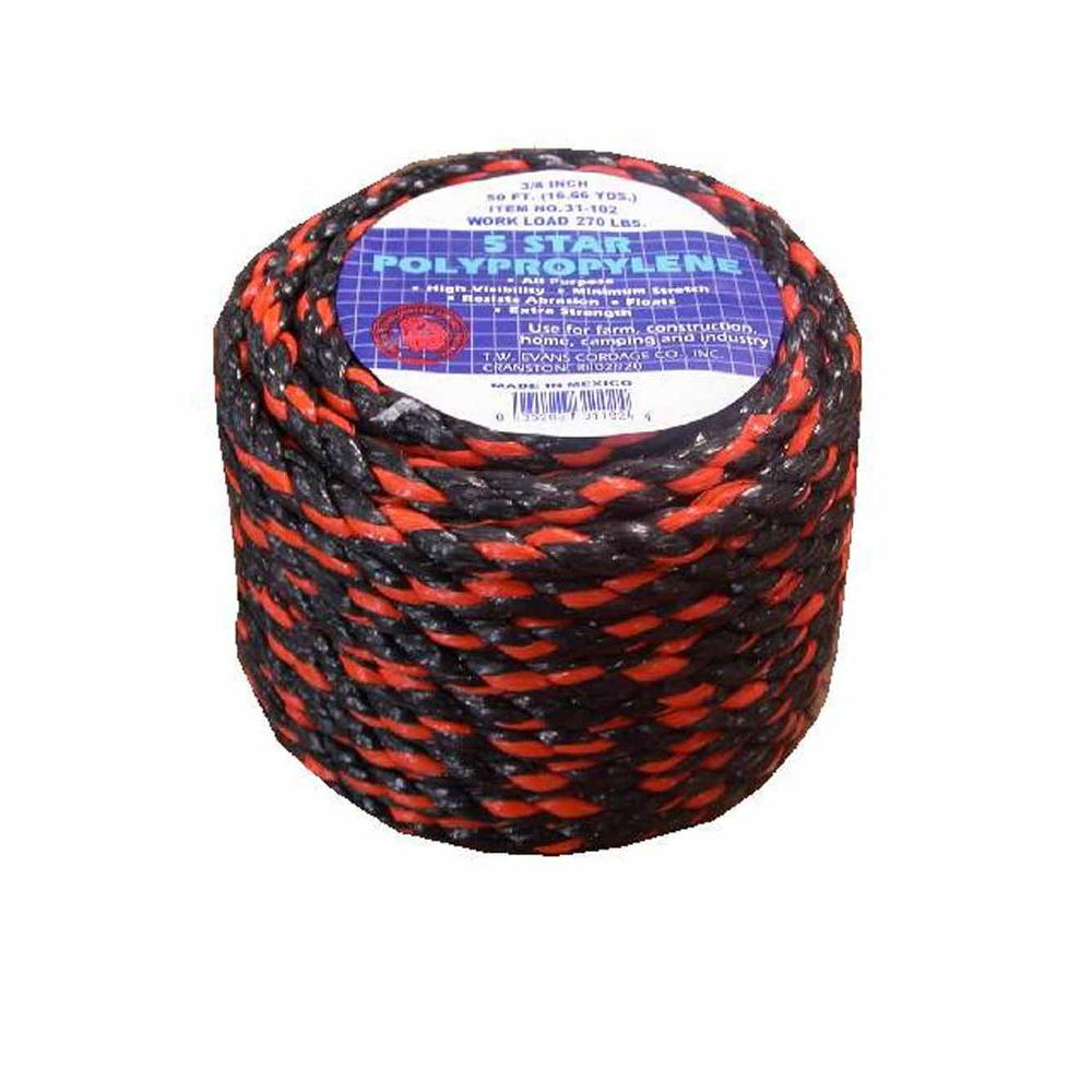 T.W. Evans Cordage 1/2 in. x 100 ft. California Truck Rope Polypro in Black and Orange