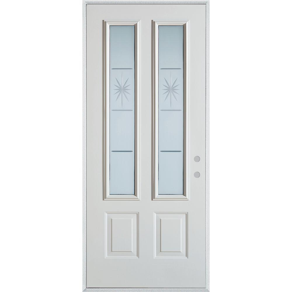 Stanley Doors 36 In X 80 In V Groove 2 Lite 2 Panel Prefinished White Left Hand Inswing Steel