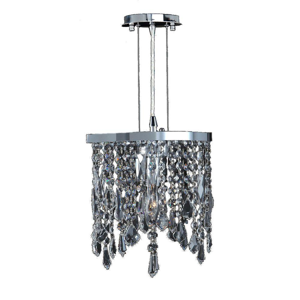 Fiona Collection 1-Light Chrome and Clear Crystal Pendant