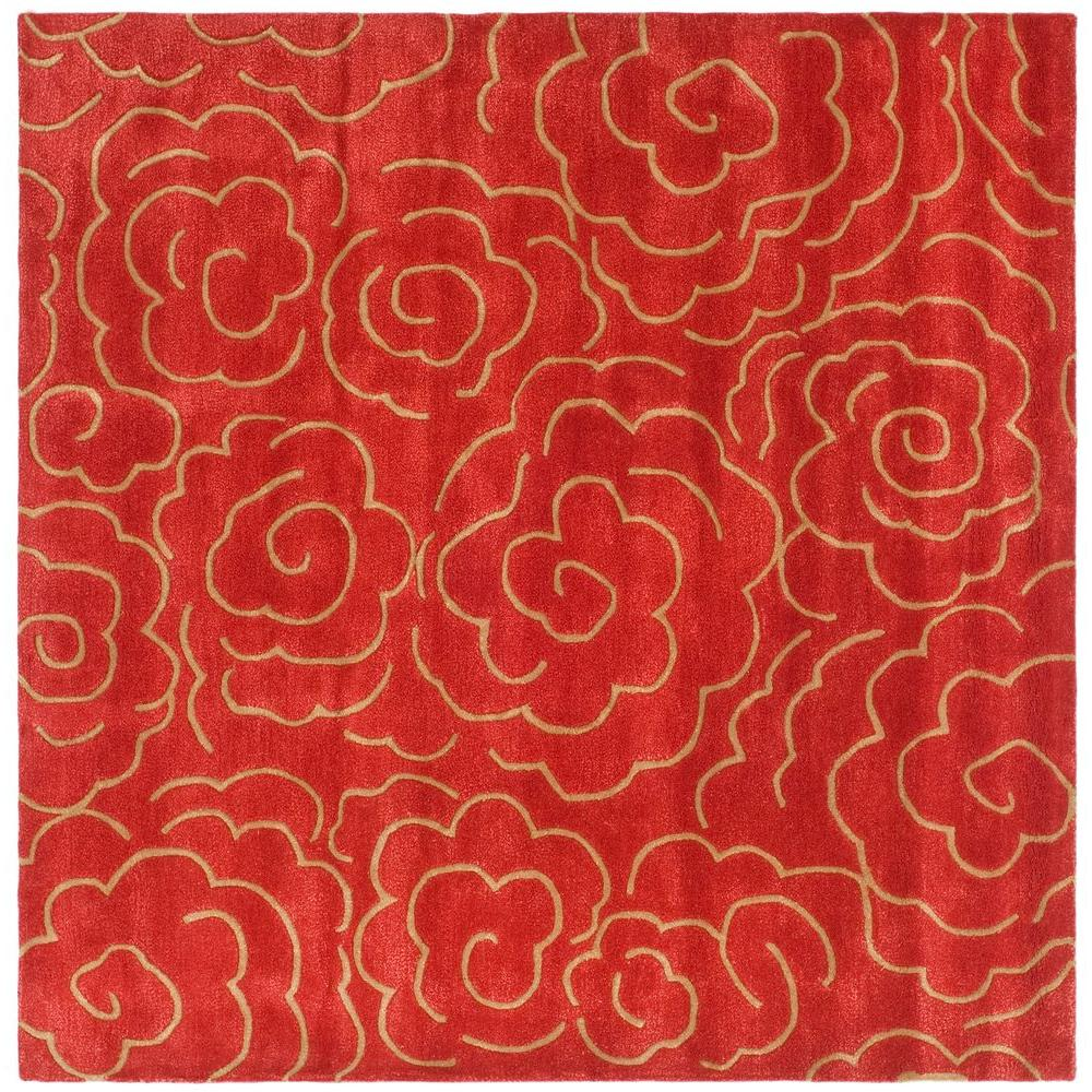 Safavieh Soho Red 6 Ft X 6 Ft Square Area Rug Soh812a