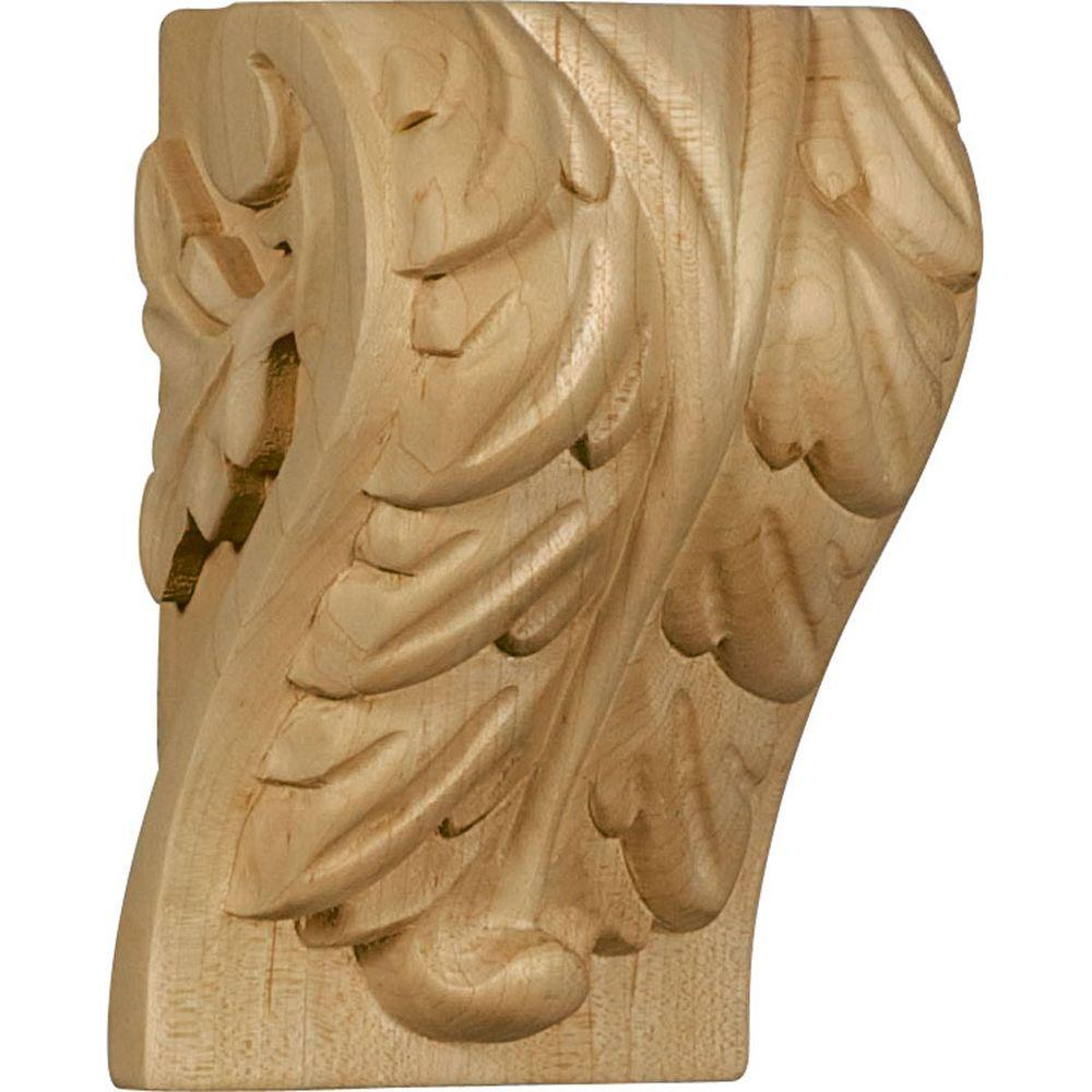 Ekena Millwork 2-3/4 in. x 3-1/4 in. x 5 in. Unfinished Wood Maple (Brown) Medium Acanthus Leaf Block Corbel