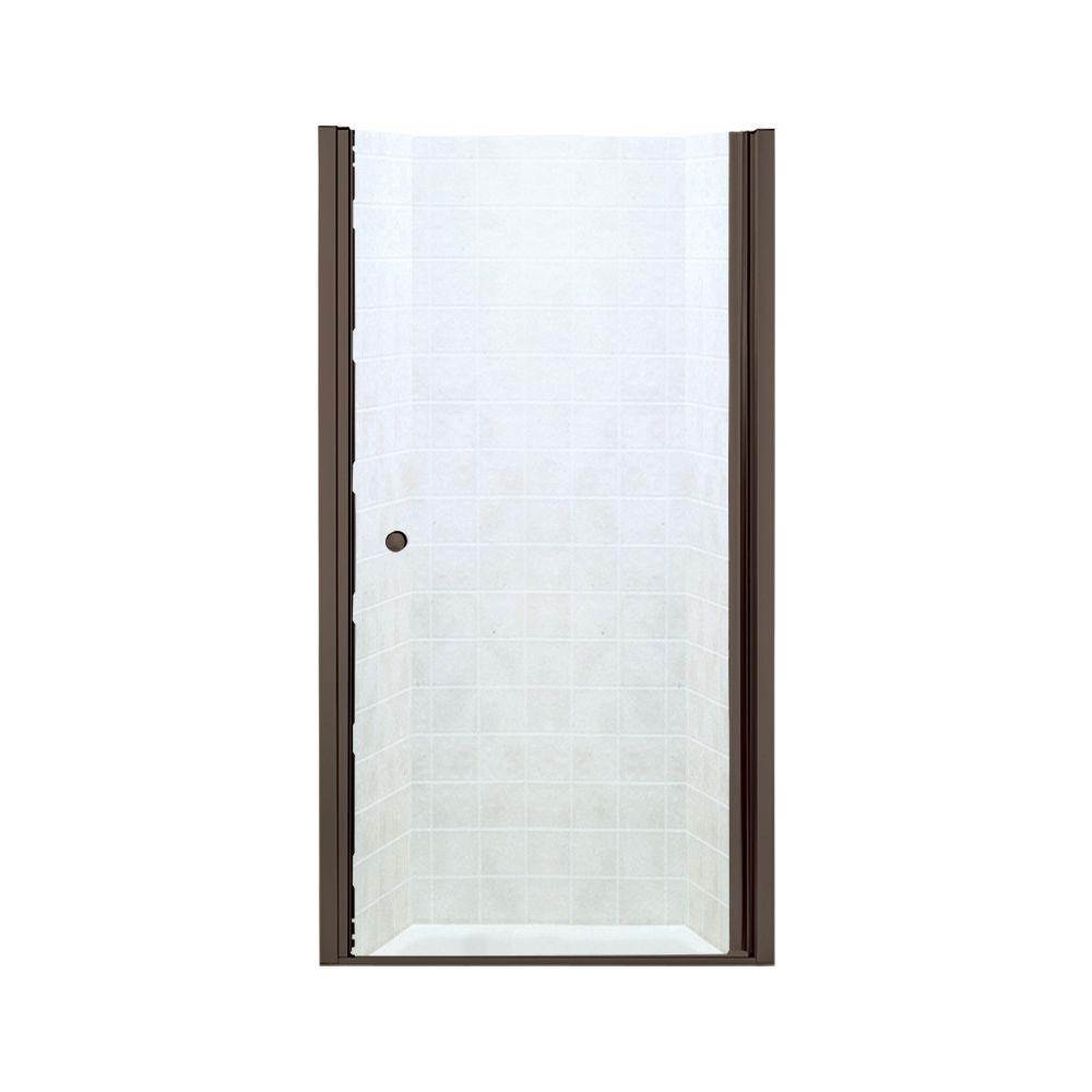 STERLING Finesse 37-3/4 in. x 65-1/2 in. Semi-Frameless Pivot Shower Door in Deep Bronze with Clear Glass Texture