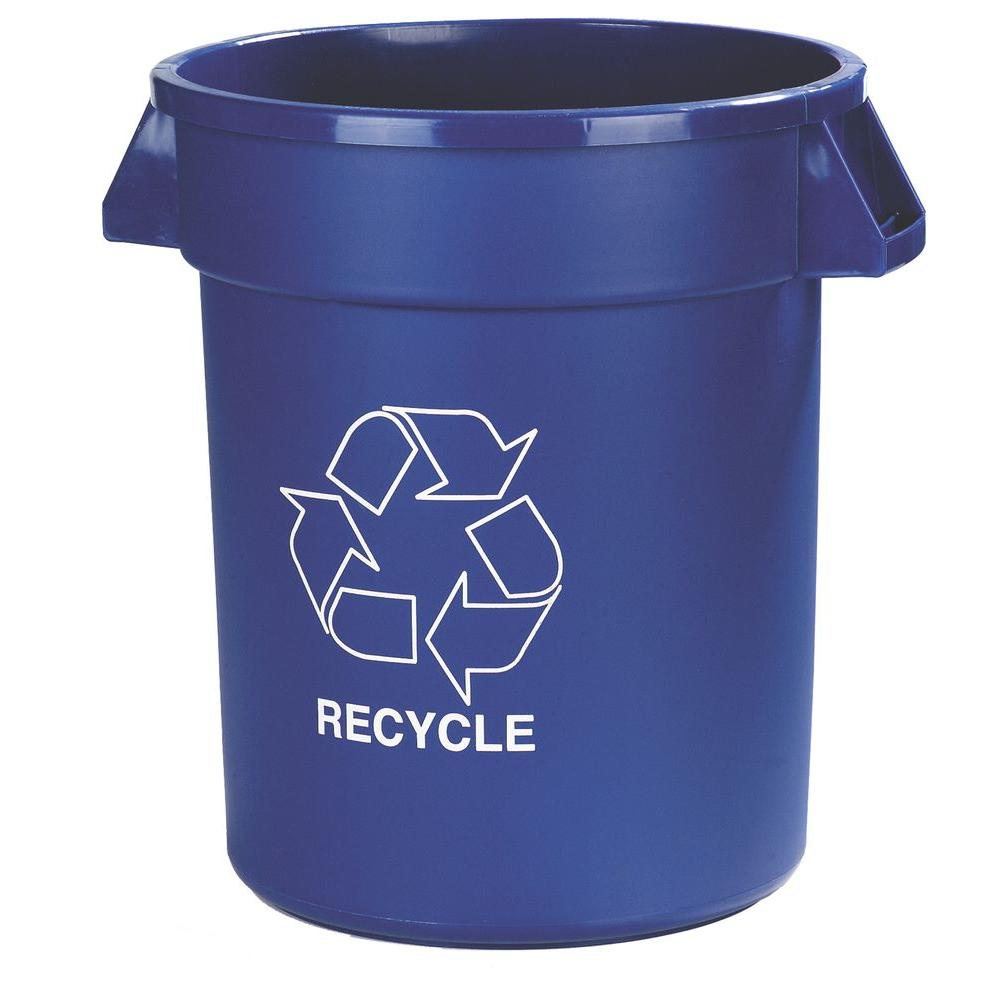 32 Gal. Blue Recycle Trash Can (4-Pack)