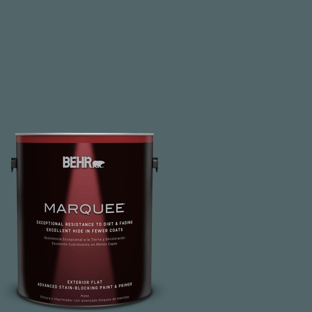 BEHR MARQUEE 1-gal. #ECC-58-3 Unreal Teal Flat Exterior Paint-445301 - The