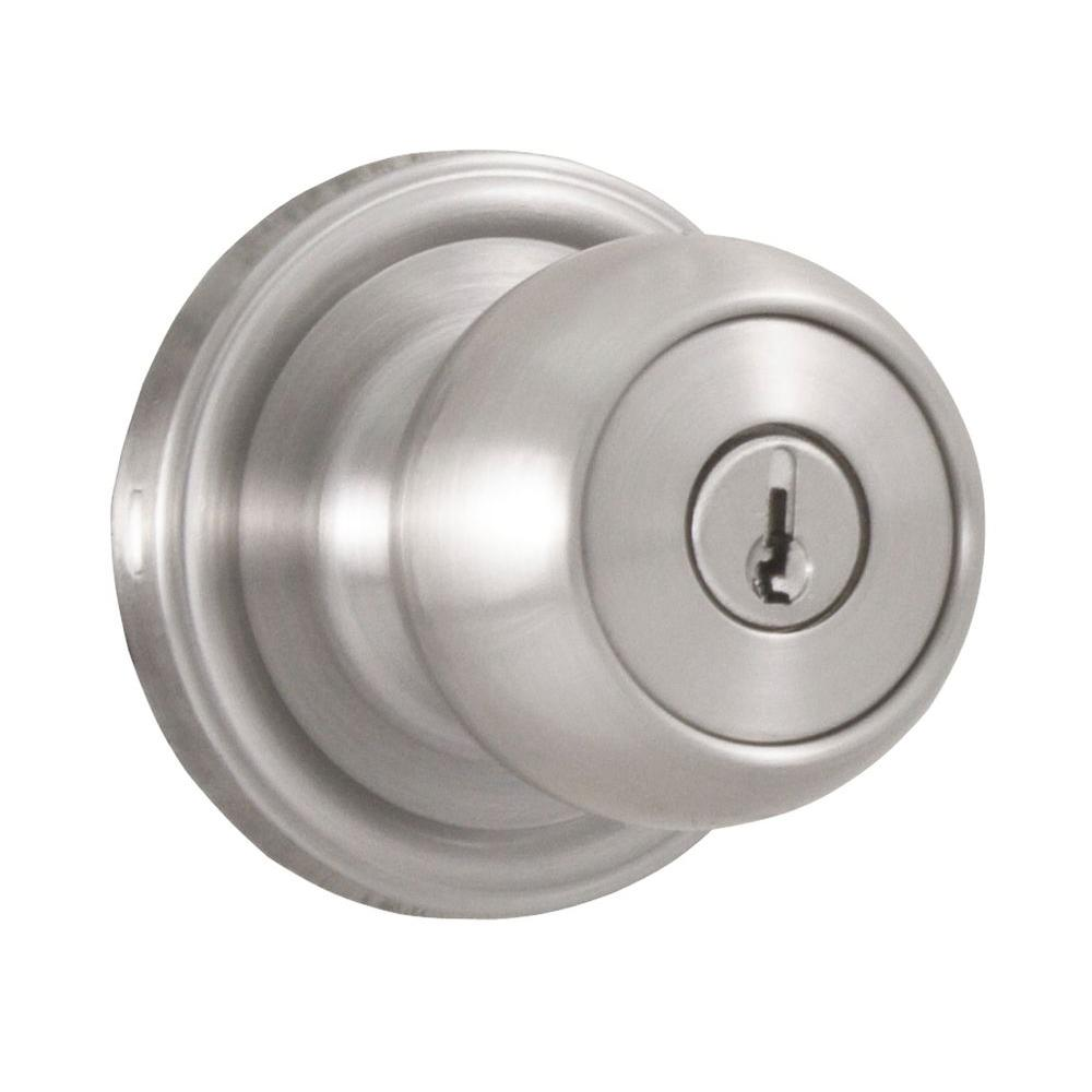 Weslock Essentials Satin Nickel Keyed Entry Barrington Knob
