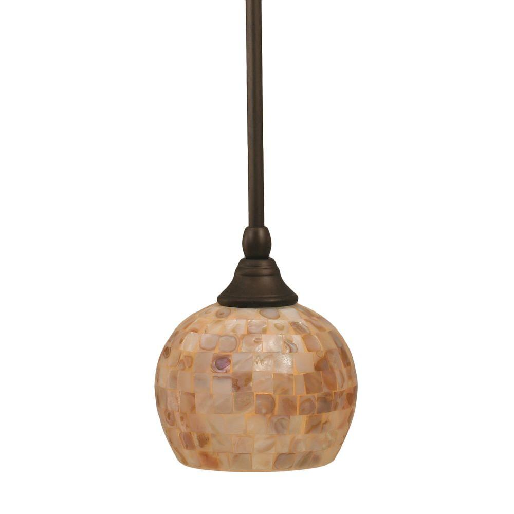 Filament Design 1 Light 6 in. Bronze and Seashell Glass Pendant-DISCONTINUED