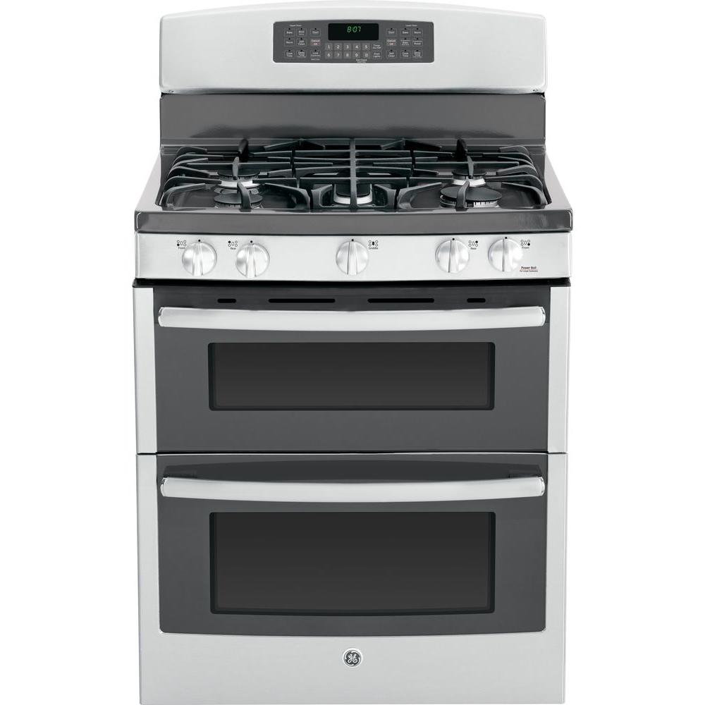GE 6.8 cu. ft. Double Oven Gas Range with Self-Cleaning Convection Lower Oven in Stainless Steel