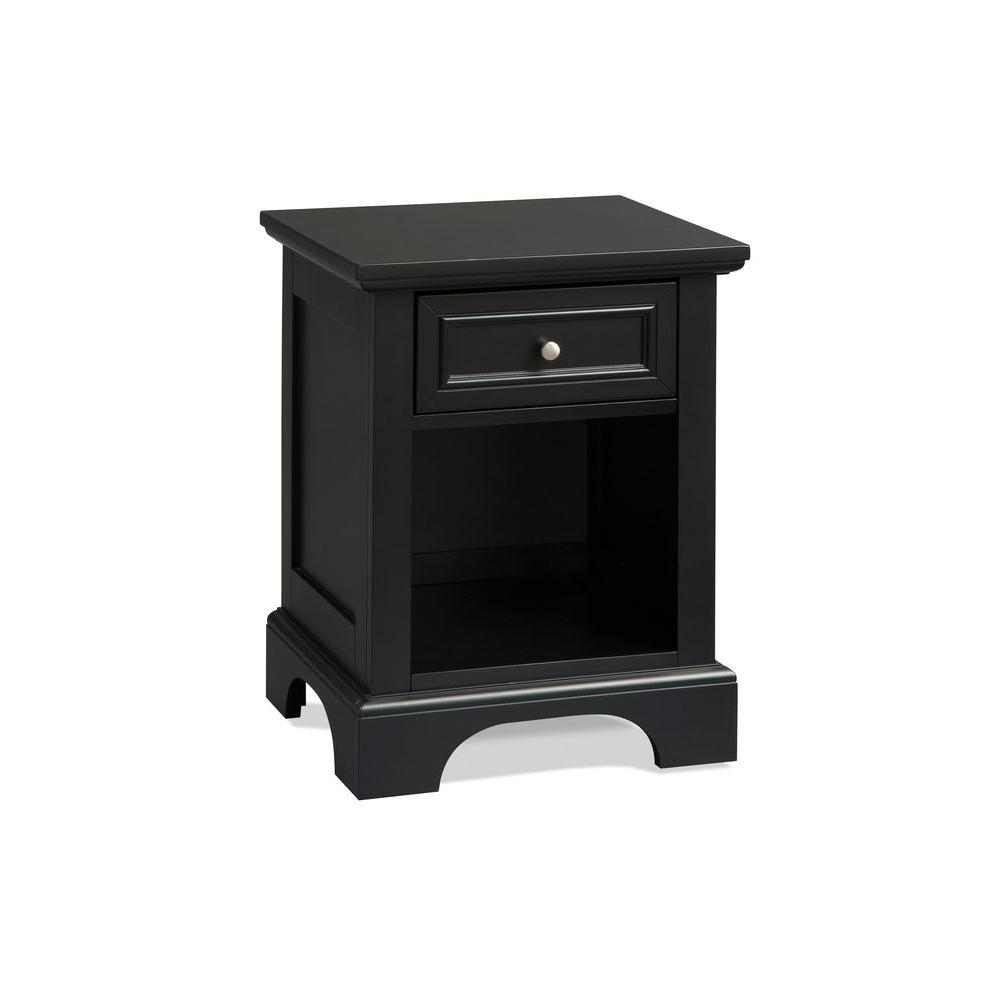 Home Styles Bedford 1-Drawer Black Nightstand