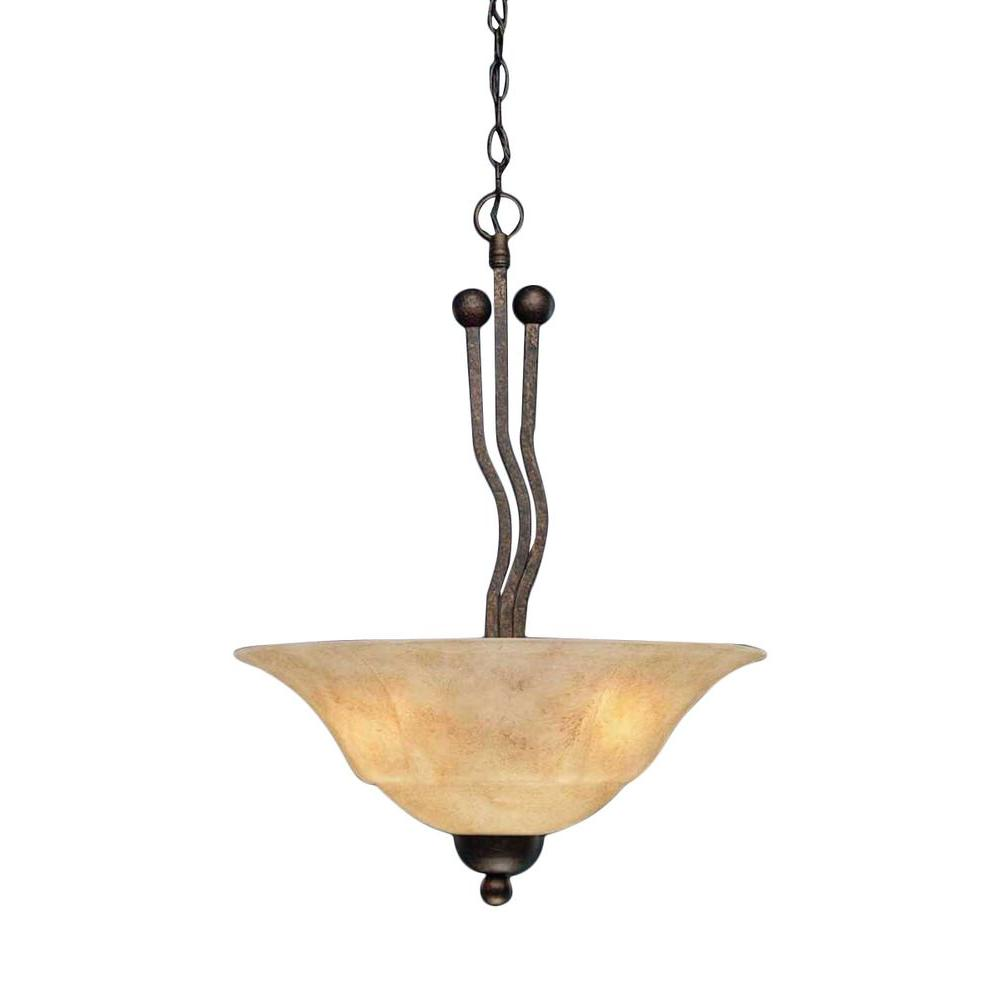 Concord 3-Light Bronze Pendant with Italian Marble Glass