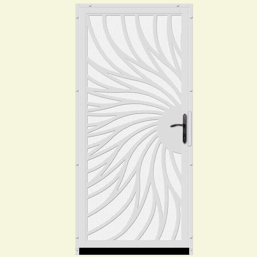 Unique home designs 36 in x 80 in solstice white surface for White security screen door