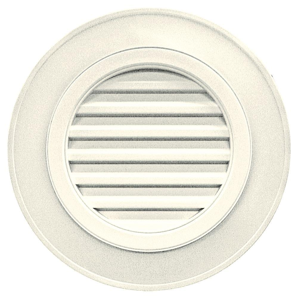 28 in. Round Gable Vent in Parchment (without Keystones)
