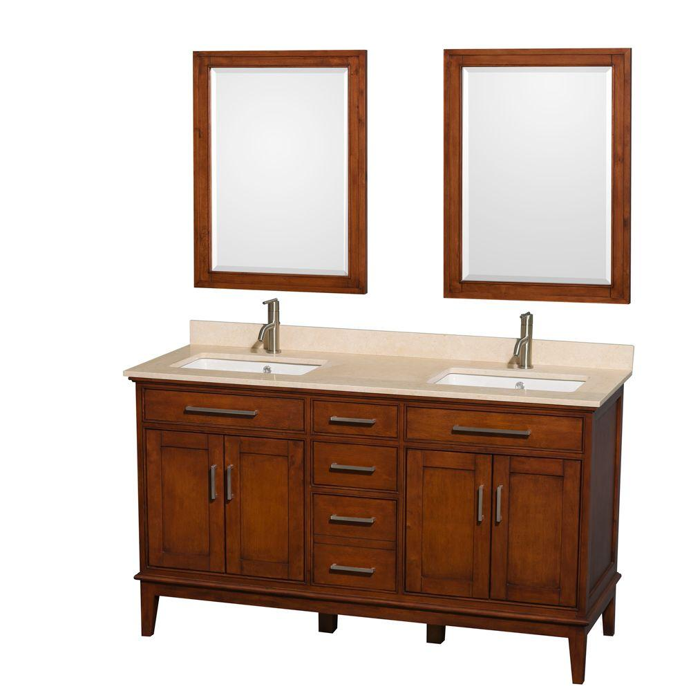 Wyndham Collection Hatton 60 in. Double Vanity in Light Chestnut with Marble Vanity Top in Ivory, Square Sink and 24 in. Mirror