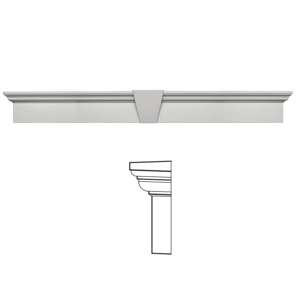 Builders Edge 9 in. x 73-5/8 in. Flat Panel Window Header with Keystone in 030 Paintable